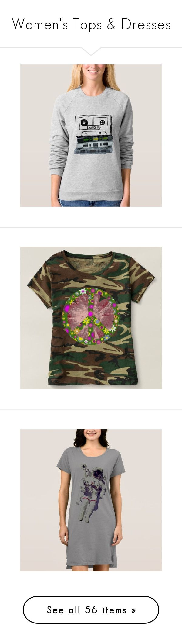 """""""Women's Tops & Dresses"""" by ubm-store ❤ liked on Polyvore featuring tops, t-shirts, peace sign t shirts, geo tee, camouflage tee, camo top, camoflage t shirt, pink t shirt, raglan sleeve t shirt and raglan top"""