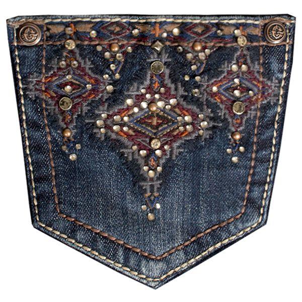 Grace In LA Easy Fit Dark Wash Deep Red Tribal Pocket Jean: Sierra Western Wear