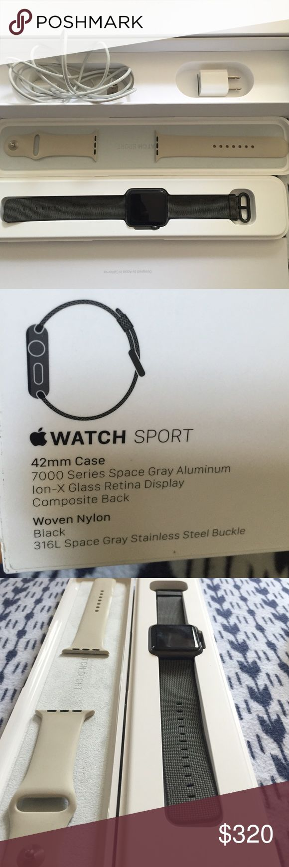 Apple Watch 42 mm case, ⌚️BLACK APPLE WATCH⌚️ plus an extra white sport watch band included:     Total: $310.00 *Price Negotiable* Apple Accessories Watches