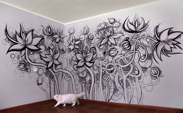 Wall art...the little kid in me wants to take some colored pencils and color this whole thing in