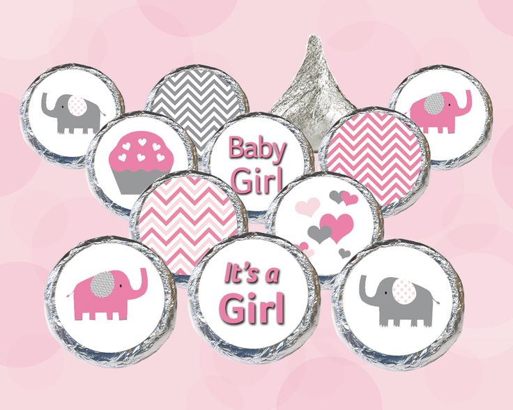 girl baby shower pink and gray elephant favors stickers for hershey kisses set of 324