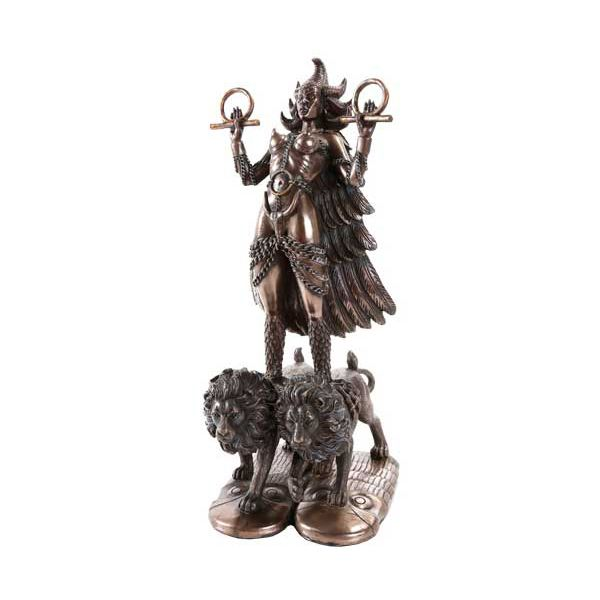Measuring 12″ in overall height, this beautifully cast Bronze Ishtar Statue features the Mesopotamian goddess standing atop two lions. Perfect for Samhain, she is the Queen of the Heavens who descended into the underworld, giving up a possession of herself in order to find her true self. She can act as a guide to your shadow self, teaching you how | #PlentifulEarth