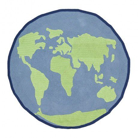 World Map Crochet Rug
