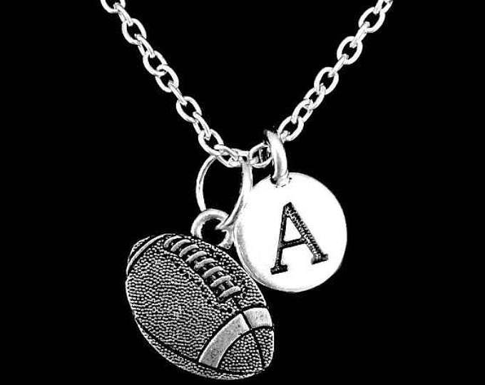 Football Necklace, Initial Sports Mom Heart Lariat Gift Necklace