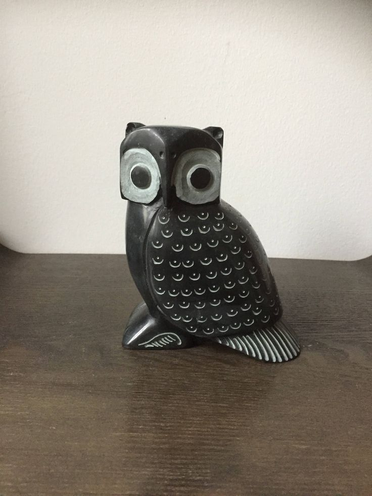 Handcarved / owl figurine /bookend / Scandinavian/shelfie/heavy black stone/granite by WifinpoofVintage on Etsy #granite #owlbookend