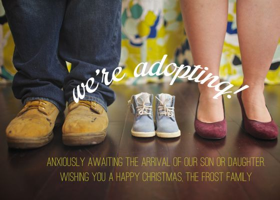 #adoption announcment card | slightly overrated with a hint of lime www.caitlinmfrost.wordpress.com  #christmascard #adoptionannouncement