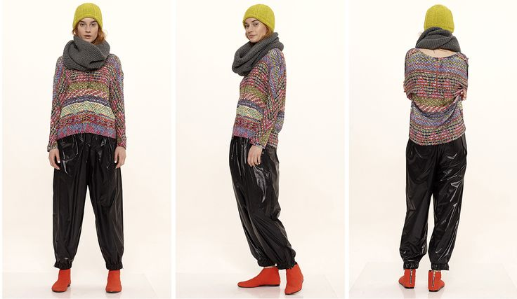 Dori Tomcsanyi jacquard printed long sleeve top with windbreaker trousers, neon hand-knitted hat and round-knitted scarf.  Available from September at the webshop. http://doritomcsanyi.com/