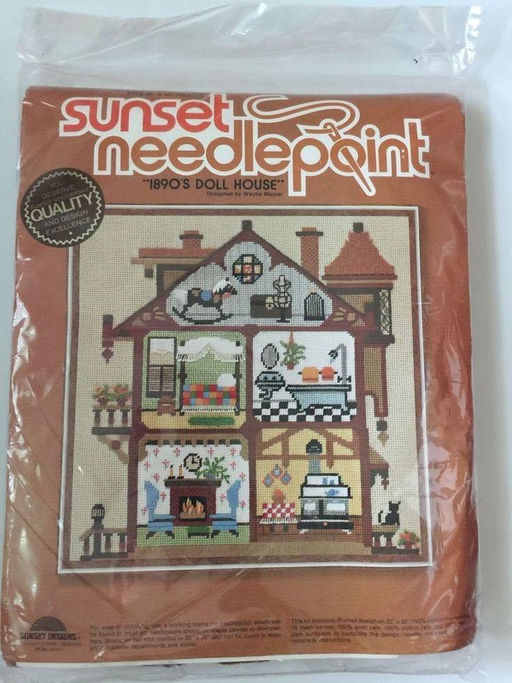 New Sunset Needlepoint kit 1890's Doll House Canvas Sealed Wayne Mauer 6870 #SunsetDesigns