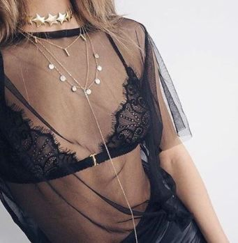 Black lace bralettes are adorable under sheer tops!