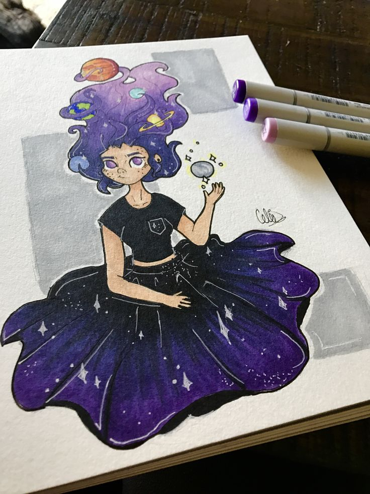 galaxy girl with planets tangled