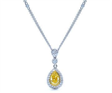 Pear Shaped Fancy Yellow Diamond Pendant