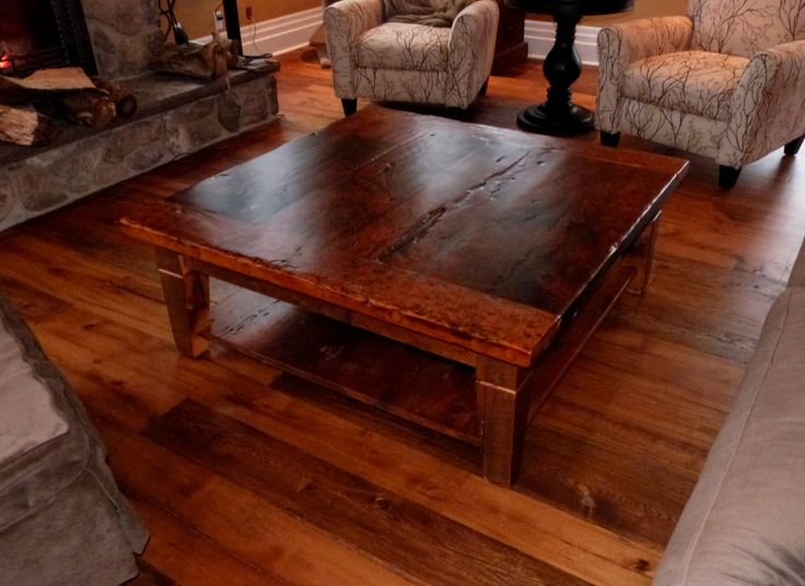 Reclaimed wood table and great chairs dad pinterest for Barn board coffee table