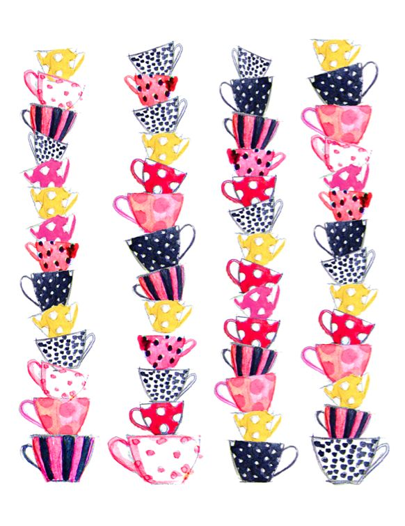 teacups stripes & polka dots: Teas Time, Memorial Cups, Teas Cups, Illustration, Tea Cups, Teacups, Teas Parties, Memorial Art, Amser Memorial