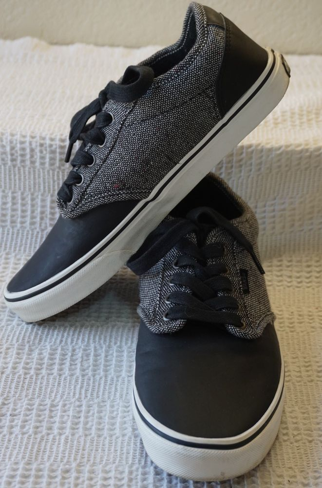 Details about VANS 500714 ATWOOD Mens Black Gray Lace Up Skater Tennis  Shoes 9.5 1 2 Used  ec57d42ab4