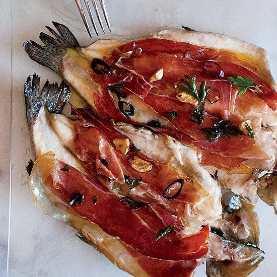 Pan-Seared Trout with Serrano Ham and Chile-Garlic Oil