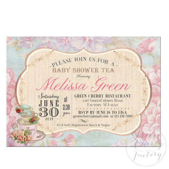 Baby Shower Invitation  Tea Party Invitation  Afternoon Tea