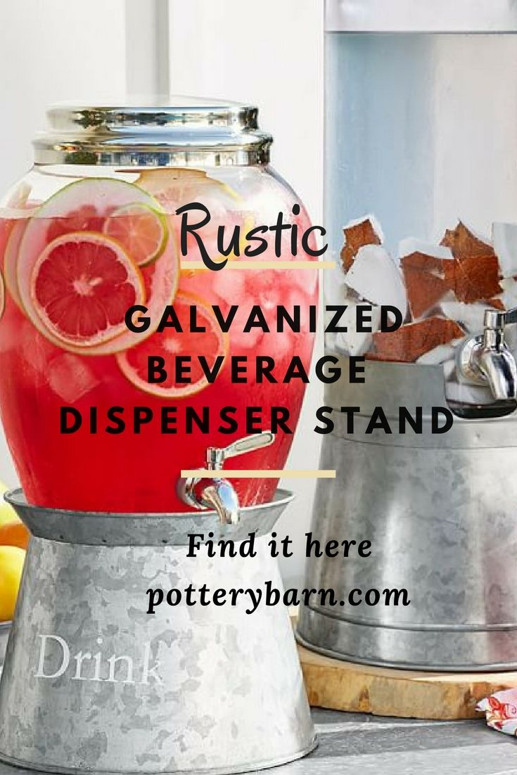 I love this fantastic beverage dispenser stand from potterybarn. It's simple and rustic galvanized metal stand for beverage dispensers. It's great that you can use it with whatever dispenser you own. I love this idea. Great for outdoor events, weddings, holidays, parties and BBQ''s. #affiliate #rustic #beverages #wedding #outdoorwedding #countrywedding #bbq #party #entertainment #events #kitchenware #summer