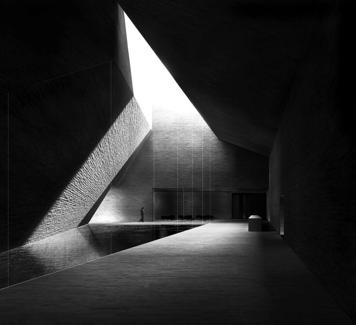 Highlighting the geometry through black&white use of a single material and only one silhouette. Estudio Barozzi Veiga - neanderthal museum