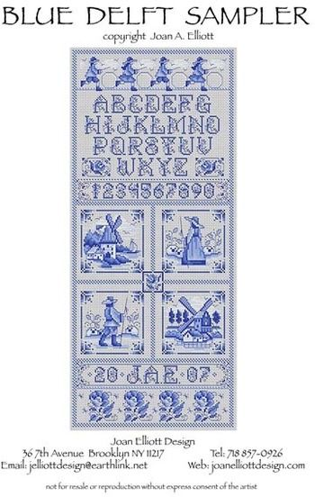 Blue Delft Sampler - Cross Stitch Pattern. I like this so much that I ordered it today.