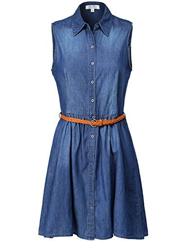 Sleeveless Denim Shirt Belted Short Dresses -- Details can be found by clicking on the image.