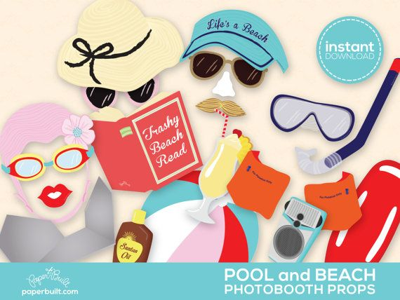 Pool Party Photo Booth Props  Swimming Party by PaperBuiltShop, $7.00