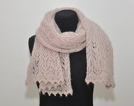 Blush pink long scarf knitted lace scarf beige pink wedding