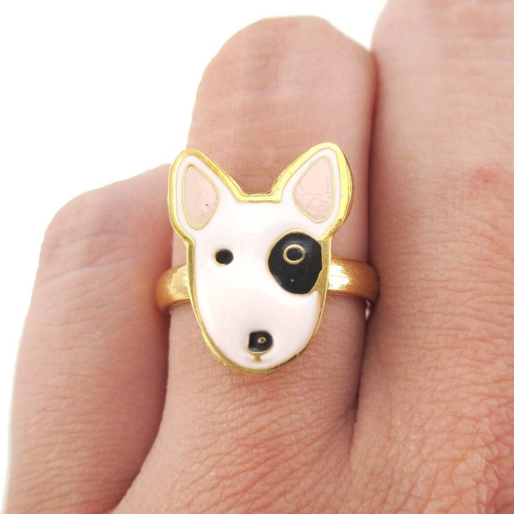 - Description - Details This super cute animal ring is handmade to look like a Bull Terrier puppy's face! Also available as earrings in our store! Check out our store for more puppy dog themed animal