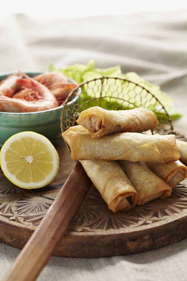 Prawn Spring Rolls - fresh seafood with a kick of lemon & fresh vegetables