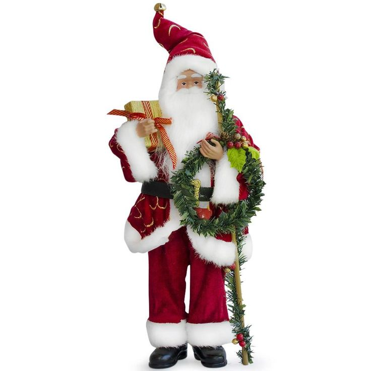 "18"" Fabric Standing Santa Figurine With Wrath and Christmas Gifts"