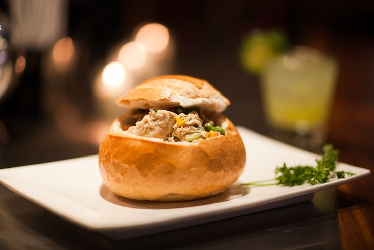 """blendabout: """"[Pictured: Chicken Pot Pie Bread Bowl - Classic creamy chicken pot pie, served in a carved out brioche bread bowl] Share a delicious meal & a laugh with new friends at The Stand in NYC on 9/30. Catch comedy show downstairs after!..."""