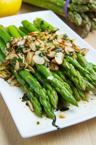 Asparagus Amandine ♦ butter, asparagus, butter, lemon juice, toasted almond slivers, parsley, salt and pepper to taste...