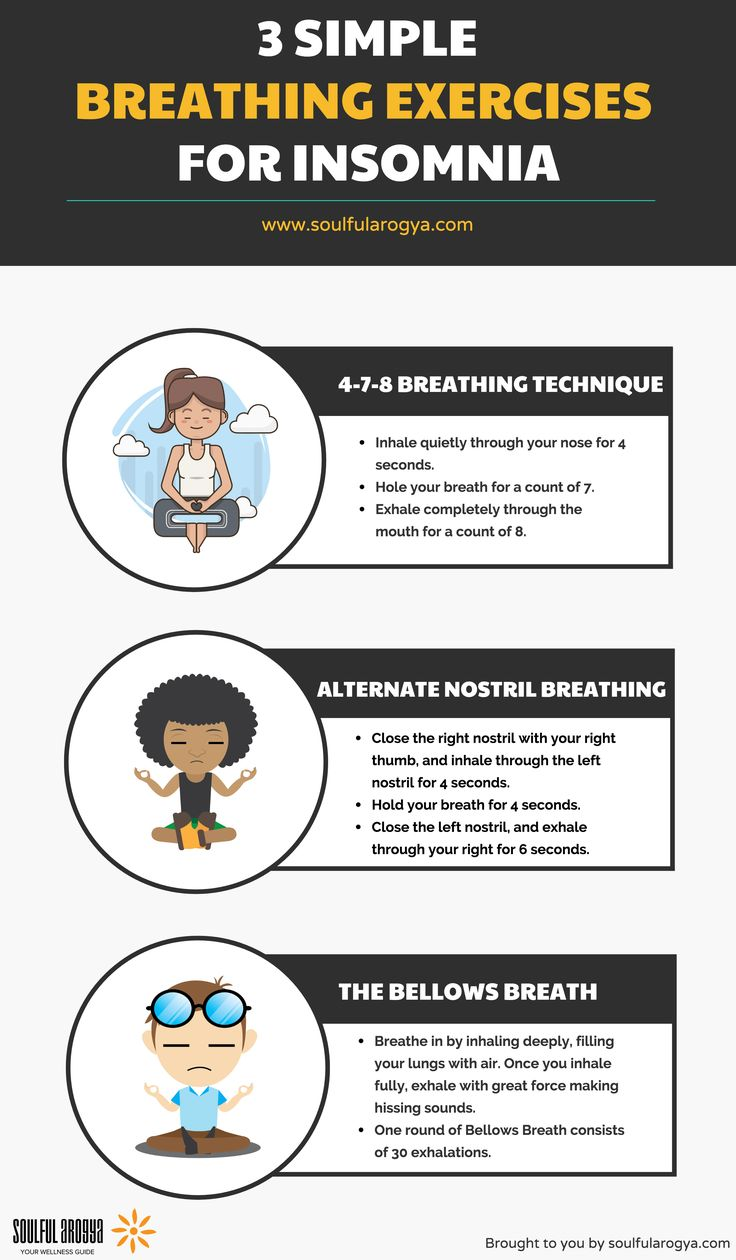 3 Simple Breathing Exercises for Insomnia - Infographic by Soulful Arogya