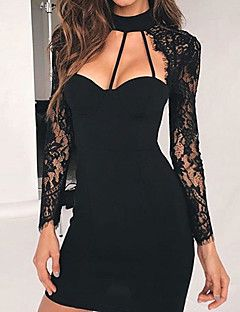 Women's Casual/Daily Sexy Cute A Line Dress,Solid V Neck Above Knee Long Sleeves Polyester Fall Winter Mid Rise Micro-elastic Medium – EUR € 16.27