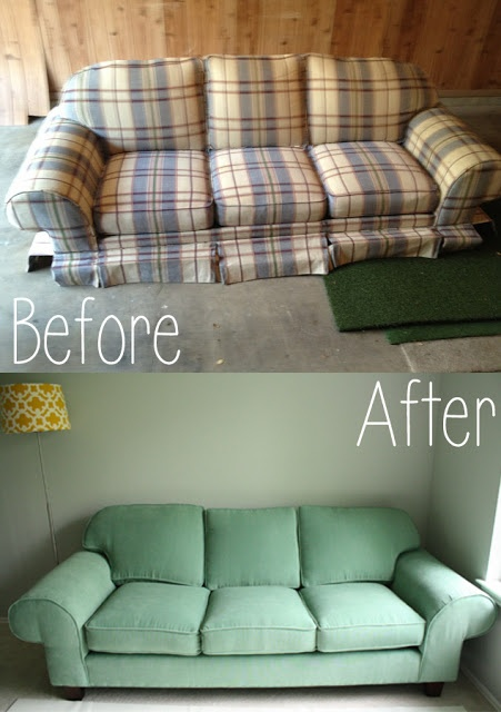 Recovering a couch can bring it back to life! ThisHouseIsOurHome.blogspot.com