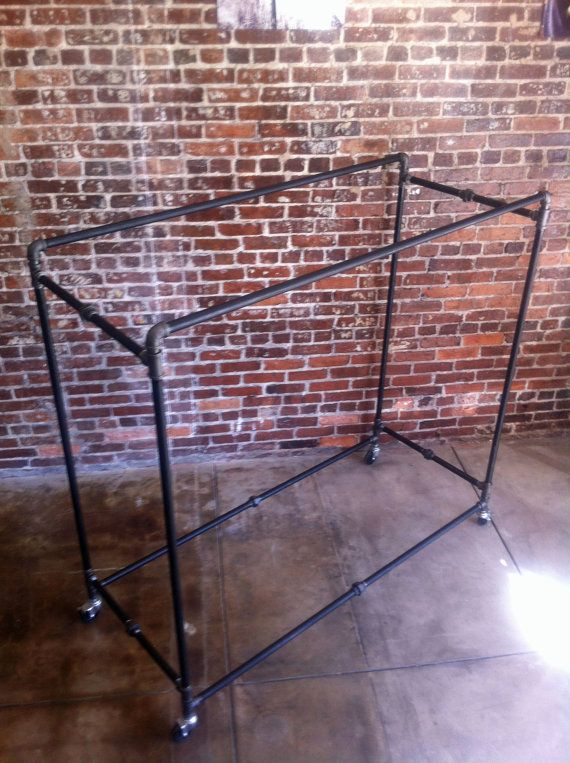 Black Pipe Industrial Clothing Rack - Box Rack - Retail Clothing Rack - Double Sided