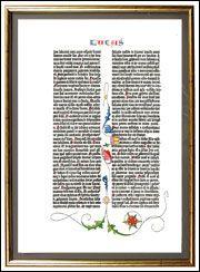 Gutenberg Shop: Die Weihnachtsgeschichte aus der 42zeiligen Gutenberg-Bibel (koloriert und gerahmt)