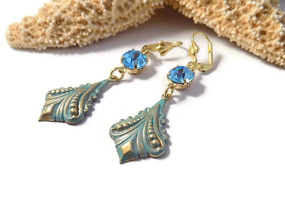 Aqua Dangle Earrings Verdigris Patina Earrings Art Nouveau Earrings Art Deco Earrings  Victorian Style Earrings