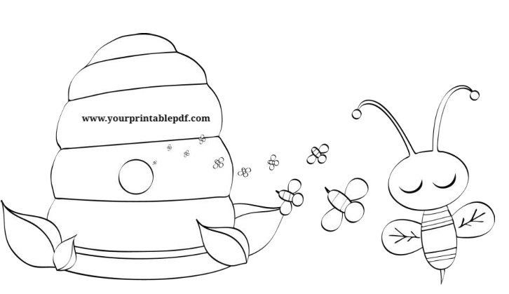 Bumble Bee Printable Pdf Coloring Page Bee Coloring Pages Coloring Pages Bee