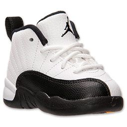 Boys' Toddler Air Jordan Retro 12 Basketball Shoes| FinishLine.com | White/Black/Taxi/Varsity Red