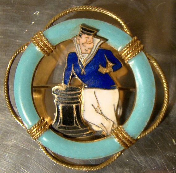 Stratton Gilt Brass ENAMEL SAILOR PIN Brooch 1920 1930