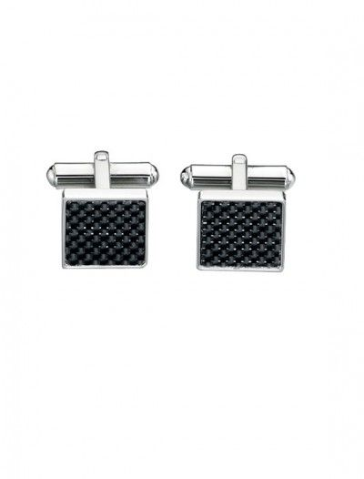 Men's Stainless Steel & Black Cufflinks - Available at Onyx Goldsmiths