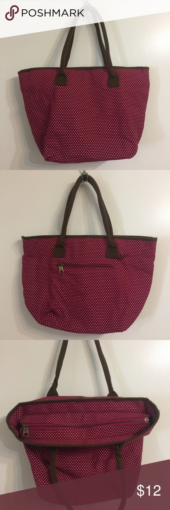 American Eagle Outfitters Polka Dot Purse AEO Polka Dot Purse, Magenta 💗, inner pocket, outer pocket, eagle pin, sturdy & spacious all zippers work great 👍🏼 American Eagle Outfitters Bags Shoulder Bags
