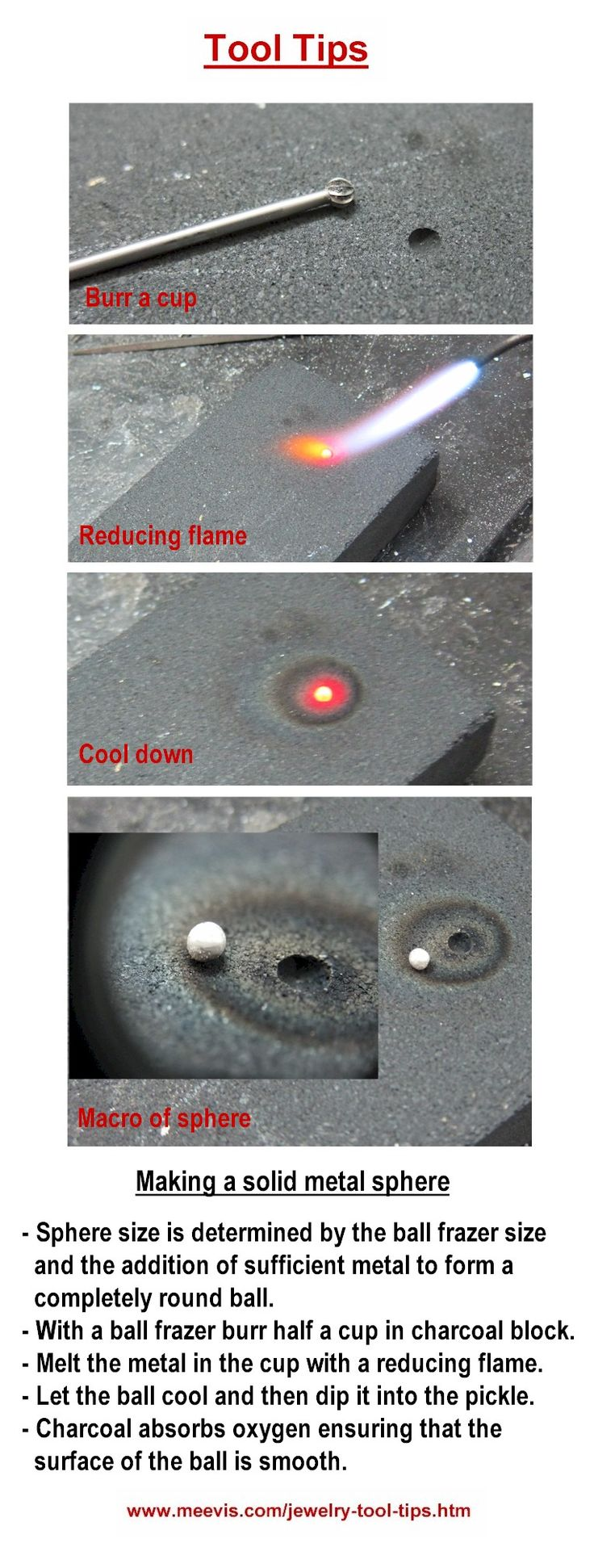 Jewelry Tool Tips - Making a solid metal sphere (ball) in a charcoal block - Granulazione dell'argento