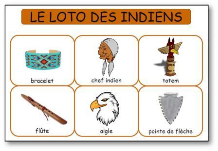 Loto des indiens d'Amérique à imprimer gratuitement, Loto indiens maternelle