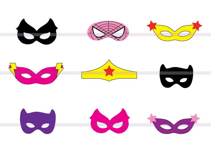 Instand DL 9 Girl SUPERHERO Masks CutOut Birthday Party by 1inch, $6.90