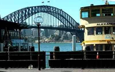 View of Sydney Harbour Bridge from the ferry wharves at Circular Quay