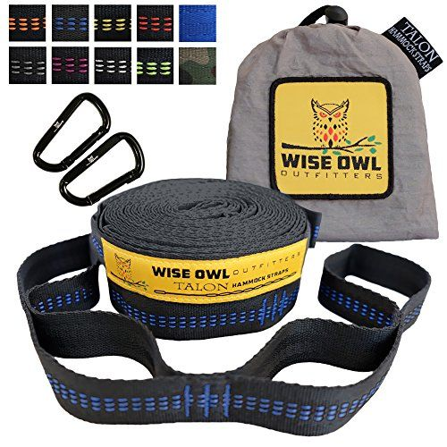 Wise Owl Outfitters Talon Hammock Straps  Combined 20 Ft Long 38 Loops W 2 Carabiners  Easily Adjustable Tree Friendly Must Have Gear For Camping Hammocks Like Eno -- For more information, visit image link. (This is an Amazon affiliate link)