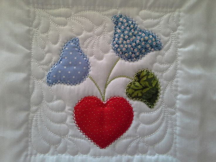 """TS1420 - Sew and Turn Applique QAYG Block 3  The third block in our series of Sew and Turn Applique Blocks. Some more country delight! The Sew and Turn technique creates a lovely """"puffy"""" applique design very much like the traditional hand applique. #embroidery #applique #quilting"""
