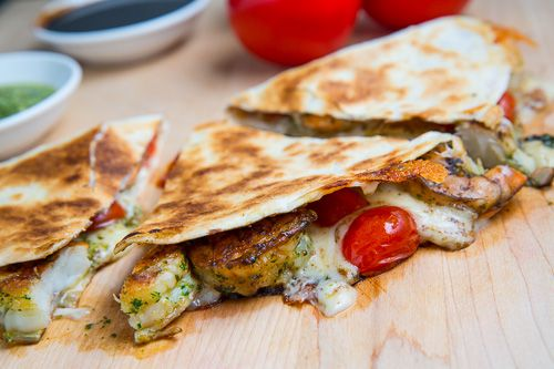 Pesto Grilled Shrimp Caprese Quesadillas I'll try with Caesar salad to for lighter dish