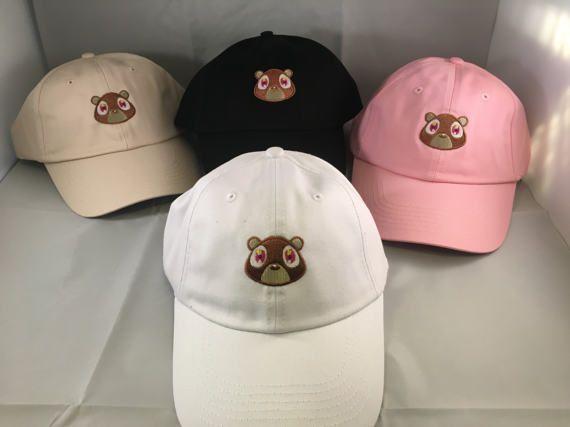 Kanye Bear Hat Cap College Dropout Dad Hat Embroidered Black